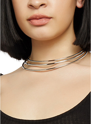 Wire Collar Necklace with Cuff Bracelet and Hoop Earrings,SILVER,large