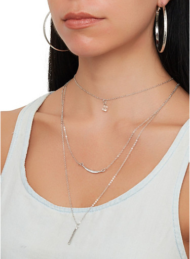 Layered Necklace with Hoop Earring Trio,SILVER,large