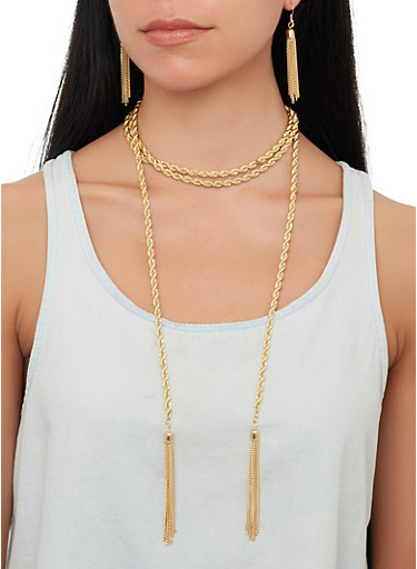 Wrap Around Metallic Tassel Necklace with Earrings,GOLD,large