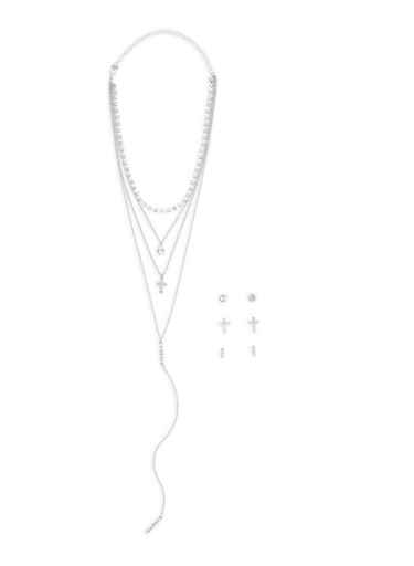 Layered Choker Necklace with Earrings Set,SILVER,large