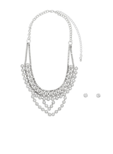 Rhinestone Collar Necklace and Stud Earrings Set,SILVER,large