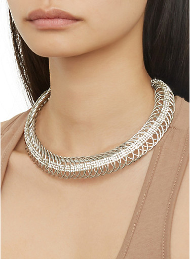 Coiled Collar Necklace with Hoop Earrings,SILVER,large