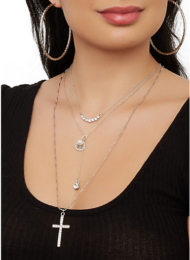Layered Cross Necklace with Hoop Earring Trio,SILVER,large