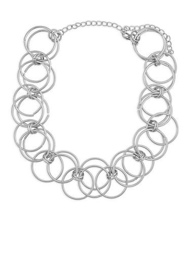 Metallic Linked Hoop Necklace,SILVER,large