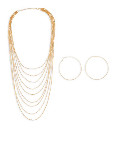Layered Metallic Necklace and Hoop Earrings,GOLD,large