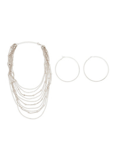 Metallic Beaded Layered Necklace and Hoop Earrings,SILVER,large