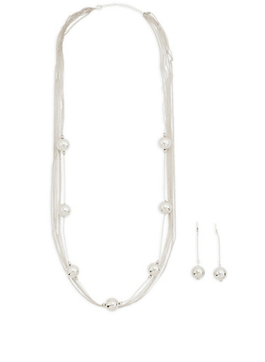 Metallic Ball Layered Necklace and Stick Earrings,SILVER,large