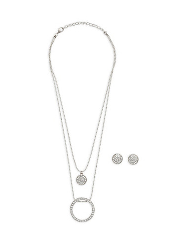 Rhinestone Charm Necklace with Earrings,SILVER,large
