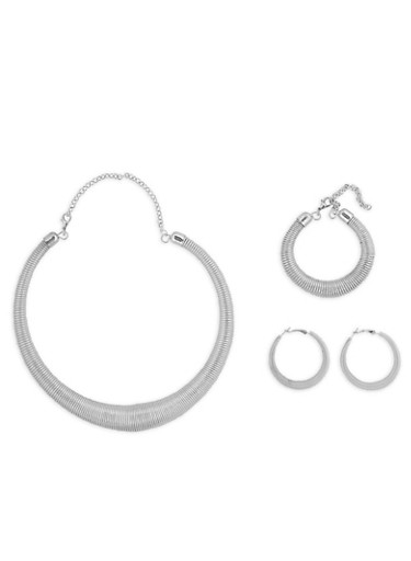 Coiled Necklace with Matching Bracelet and Hoop Earrings,SILVER,large