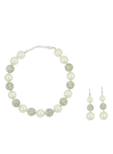 Faux Pearl and Rhinestone Necklace with Drop Earrings,SILVER,large
