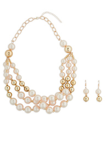 Layered Faux Pearl Beaded Necklace with Earrings,ROSE,large