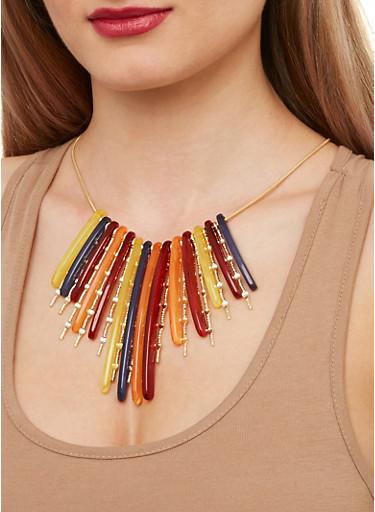 Plastic and Metallic Fringe Necklace,MULTI COLOR,large