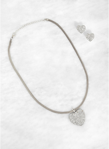 Flat Chain Heart Necklace with Stud Earrings,SILVER,large