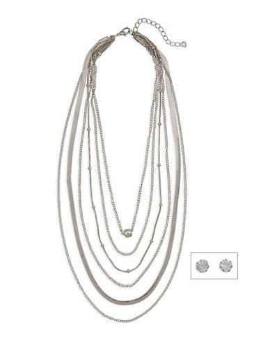 Multi Layer Necklace with Rhinestone Stud Earrings,SILVER,large