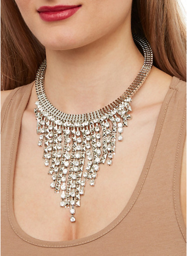 Rhinestone Fringe Collar Necklace and Earrings,SILVER,large