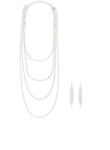 Rhinestone Layered Necklace with Earrings | Tuggl