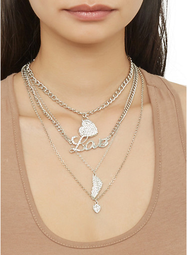 Layered Chain Feather Charm Necklace with Stud Earrings,SILVER,large