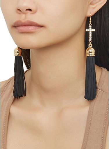 Rhinestone Cross Tassel Drop Earrings,BLACK,large