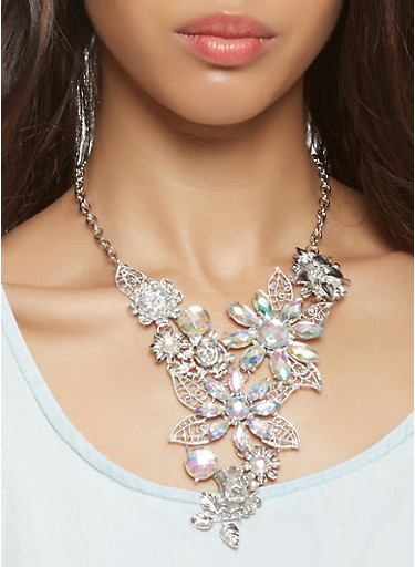 Metallic Rhinestone Flower Necklace with Earrings,SILVER,large
