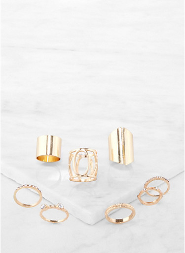 Set of 8 Metallic Rings,GOLD,large