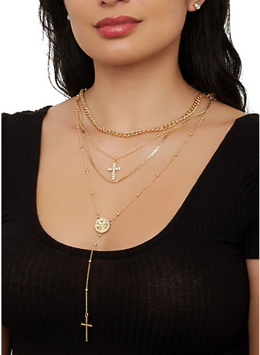 Layered Cross Necklace with Rhinestone Stud Earrings,GOLD,large