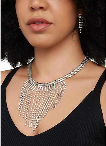 Rhinestone Fringe Snake Chain Necklace with Earrings,SILVER,large