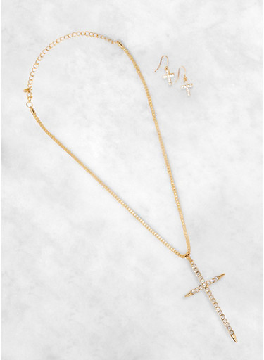Rhinestone Cross Pendant Necklace and Earrings Set,GOLD,large
