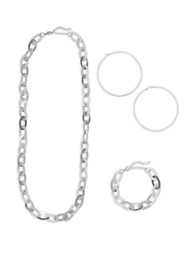Flat Chain Link Necklace Bracelet and Hoop Earrings Set,SILVER,large