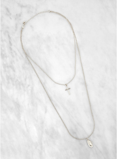 Layered Religious Cross Necklace,SILVER,large