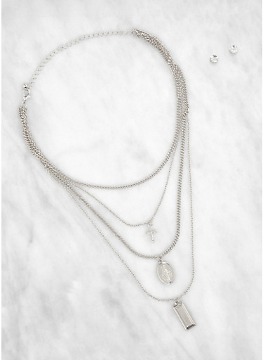 Religious Layered Necklace with Stud Earrings,SILVER,large