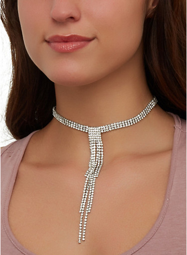 Rhinestone Fringe Choker Necklace with Stud Earrings,SILVER,large