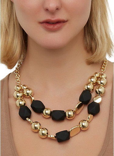 Two Row Beaded Necklace,BLACK,large
