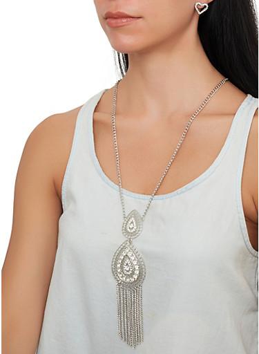 Rhinestone Teardrop Necklace with Stud Earrings,SILVER,large