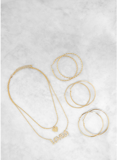 Loved Layered Charm Necklace with Hoop Earring Trio,GOLD,large