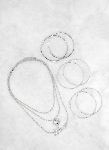 Layered Love Necklace with Hoop Earrings,SILVER,large