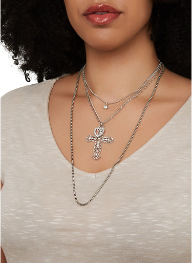 Layered Cross Charm Necklace and Stud Earrings,SILVER,large
