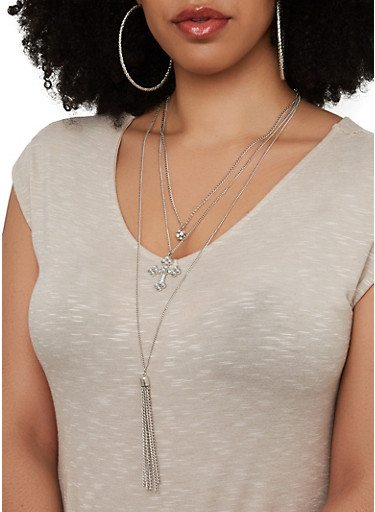 Layered Cross Charm Necklace with Hoop Earring Trio,SILVER,large