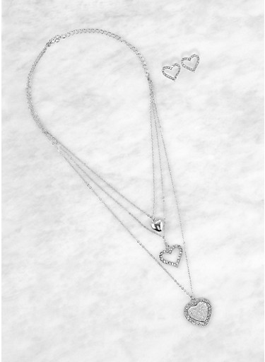 Multi Layer Heart Charm Necklace with Stud Earrings,SILVER,large