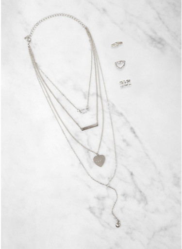 Love Heart Charm Layered Necklace with Ring Trio,SILVER,large