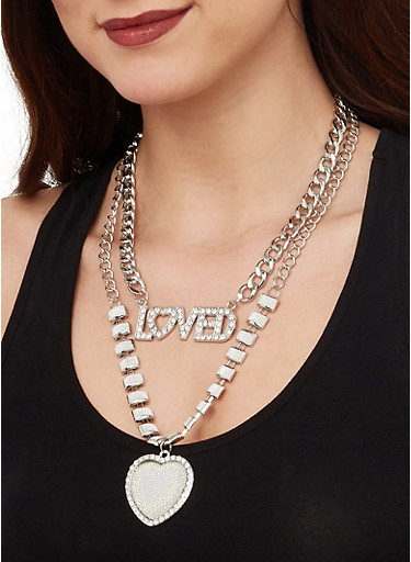 Loved Glitter Chain Necklace with Earrings,SILVER,large