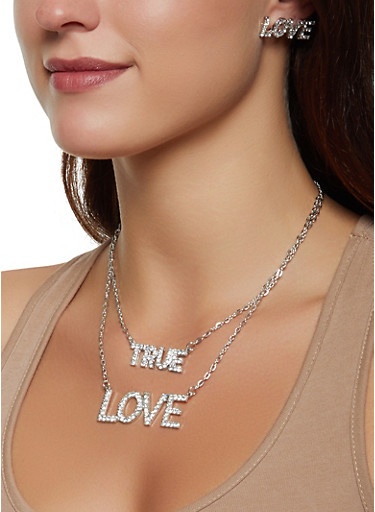 True Love Layered Necklace and Earrings Set,SILVER,large