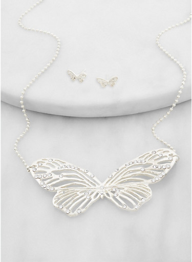 Metallic Butterfly Necklace and Stud Earrings,SILVER,large