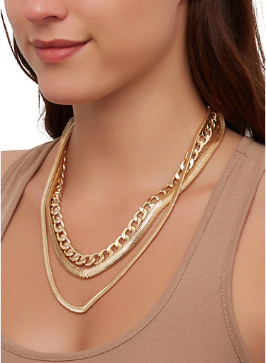 Flat Chain Layered Necklace,GOLD,large