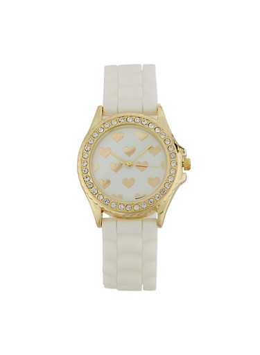 Heart Face Silicone Strap Watch,WHITE,large