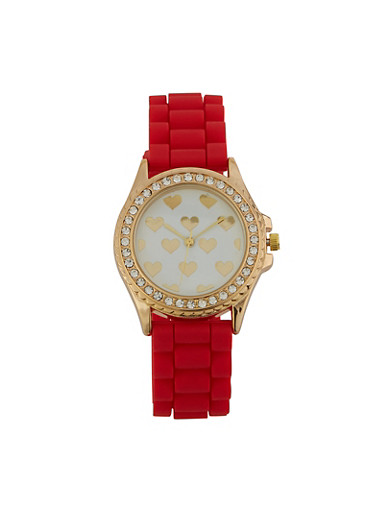 Heart Face Silicone Watch,RED,large