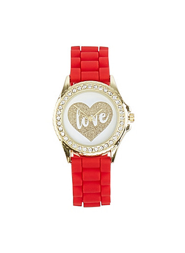 Love Face Silicone Watch,RED,large