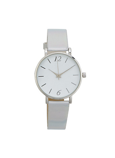 Holographic Faux Leather Watch,SILVER,large