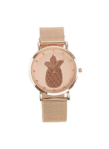 Pineapple Face Metallic Mesh Watch,ROSE,large