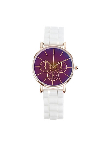 Iridescent Face Silicone Watch,MULTI COLOR,large