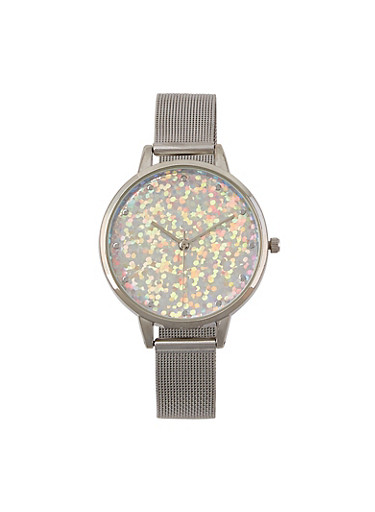 Glitter Face Metallic Mesh Strap Watch,ROSE,large